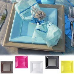 """Vaisselle jetable - Assiette plastique carré X12 """"GM"""""""