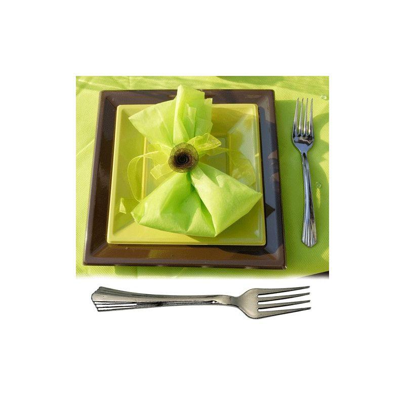 Couvert jetable - Fourchette plastique imitation inox X50