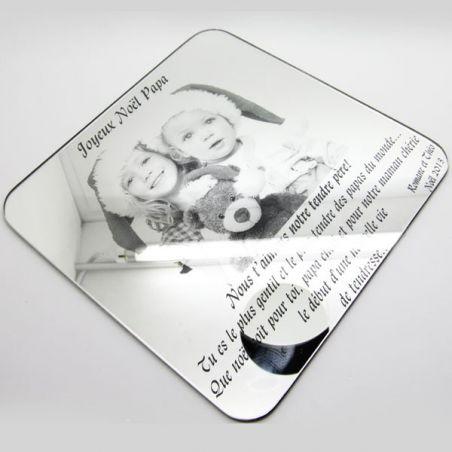 Miroir gravé Photos + Texte - Noël