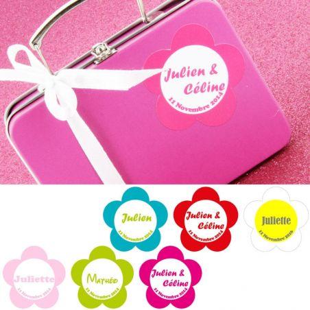 Etiquette dragées stickers personnalisé - Marguerite X15