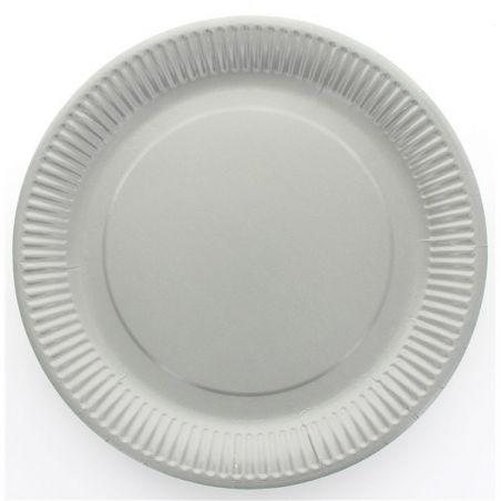 Assiette jetable Ø23cm Ronde (lot 10) - Gris