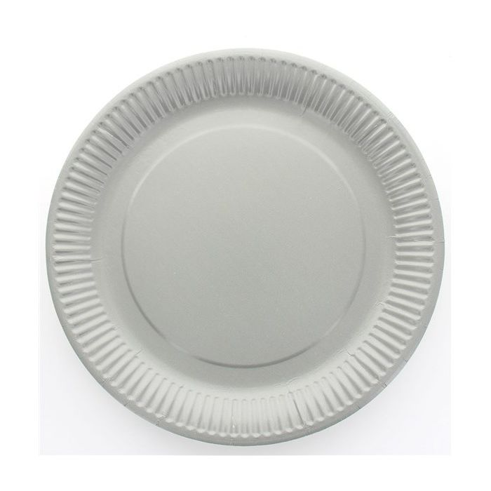 assiette jetable 23cm ronde gris lot de 10 vaisselle. Black Bedroom Furniture Sets. Home Design Ideas