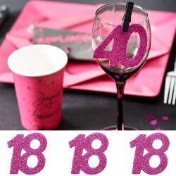 6 Gros confetti Anniversaire - Fuchsia 18 ans