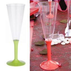 Flûte champagne plastique 13cl (10psc) Vert