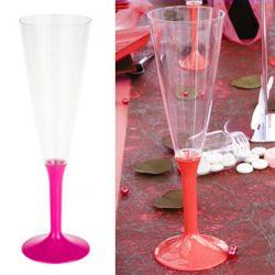 Flûte champagne plastique 13cl (10psc) - Fushia