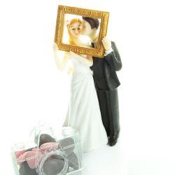 Figurine gateau mariage - Mariés encadré