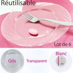 Assiette plastique reutilisable les 6 (45gr)