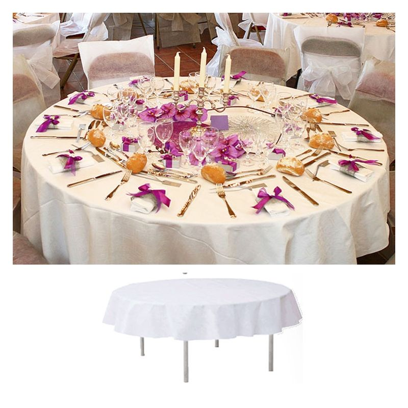 Nappe de table ronde blanche 240cm - Nappe de table ronde pas cher ...