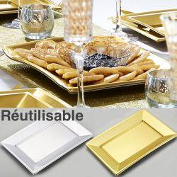 Plateau reutilisable doré ou argenté (les 5)