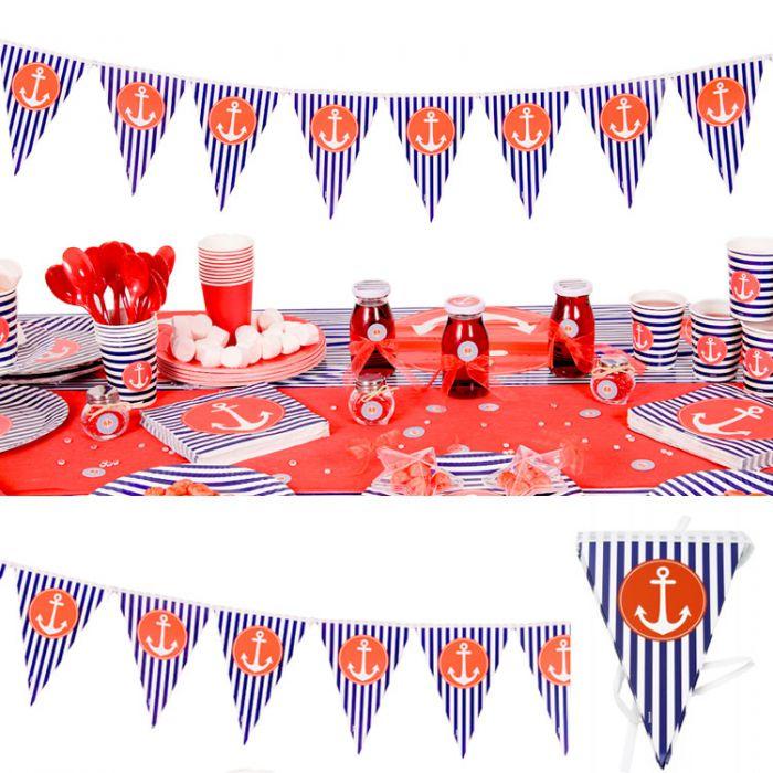 Drapeau drapeau marin th me mer d coration anniversaire for Theme marin decoration