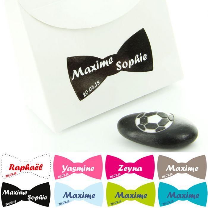 Etiquettes Dragées Sticker Noeud Lot De 14