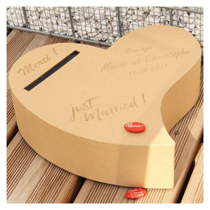 Urne personnalisée mariage - Coeur Kraft