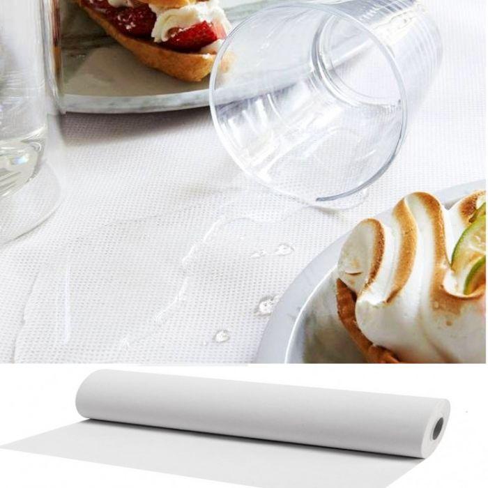 rouleau nappe blanche spunbond waterproof effet tissu reutilissable