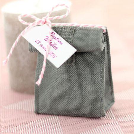Petit dragées sac avec velcro - Gris