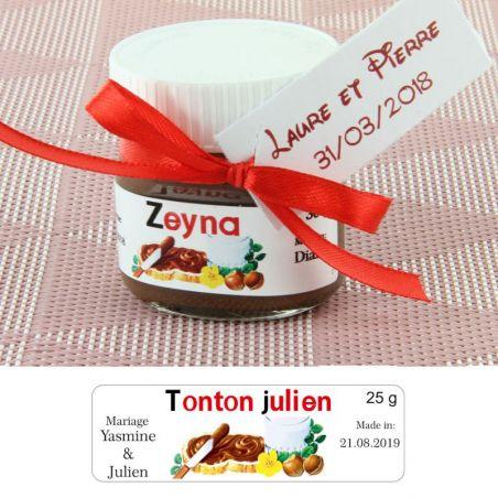 Mini pot de NUTELLA® personnalisée Prénoms d'invités
