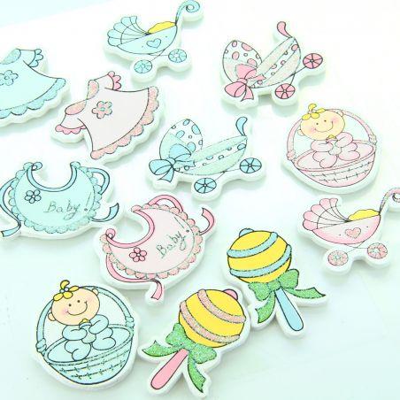 6 Stickers naissance à coller N°2