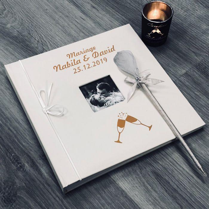 livre d 39 or mariage personnalis album photo fl tes. Black Bedroom Furniture Sets. Home Design Ideas
