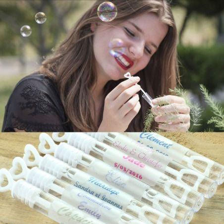 30 tubes bulles savon Personnalisé Coeur