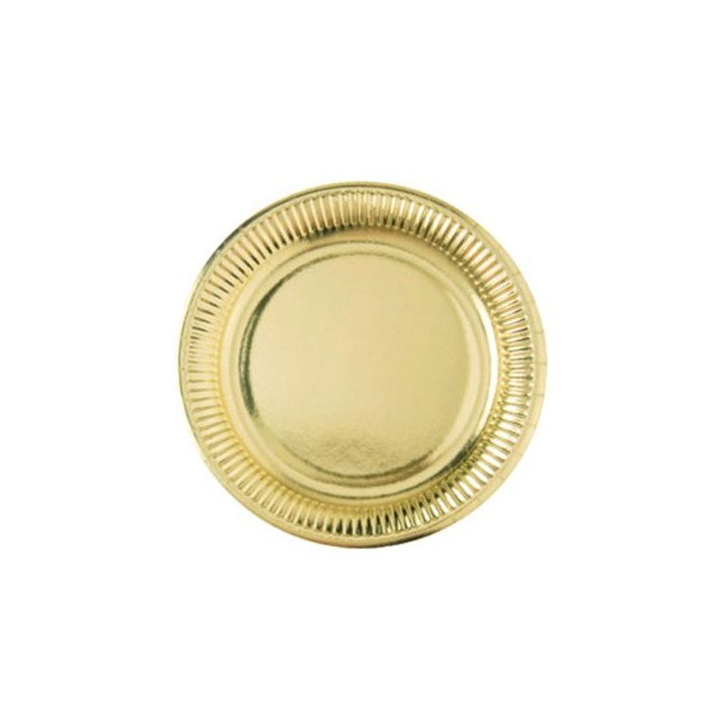 Assiette jetable Ø23cm Ronde (lot 8) - Dorée