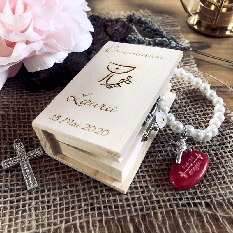 Boite dragées communion livre Bible Personnalisé