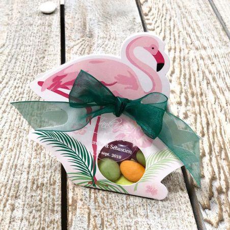 Boîte dragée carton Flamant rose (les 6)