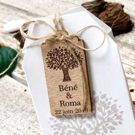 Etiquettes mariage bois arbre (Lot de 20)