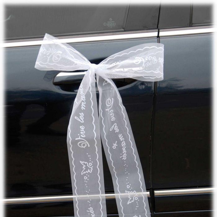 ruban vive les mariés - décoration voiture - fleurs de dragées