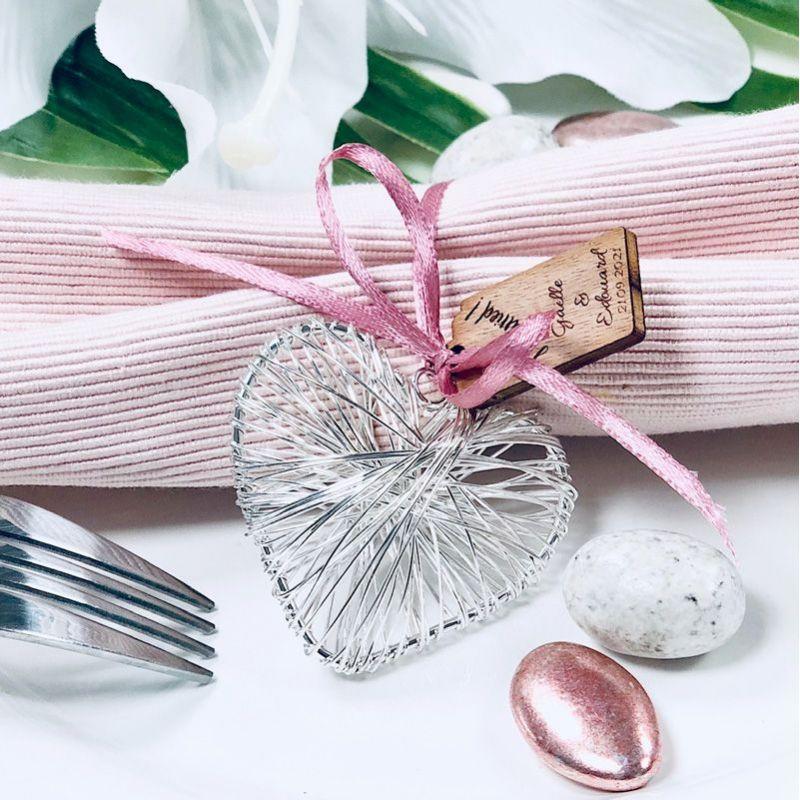 Coeur métal armuré porte clef mariage