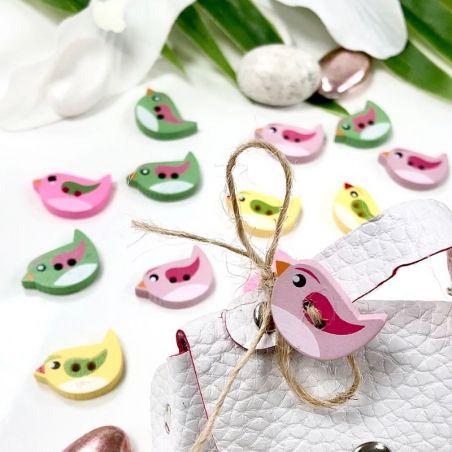 24 oiseaux en bois décoratifs multicolors